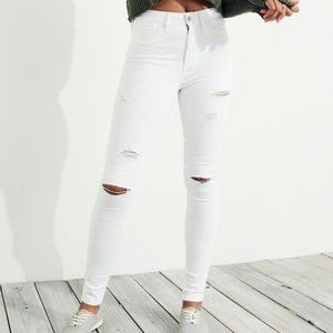 Hollister High Rise Super Skinny White Distressed